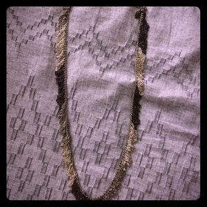 Silver and dark gray fringe necklace